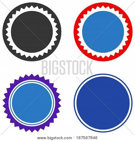 Rounded Seal Stamp flat vector pictograph set. An isolated icons on a white background.