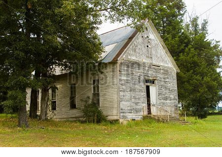 Old Abandoned Methodist Country Church in Arkansas