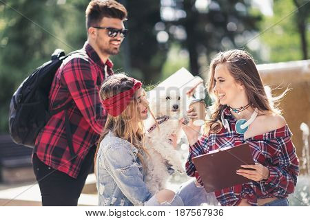 Group Of Students Chatting Together In Park