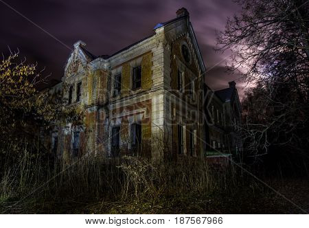 Night at abandoned mansion of baron Karl von Meck, railway king