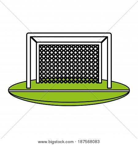 color silhouette with football goal vector illustration