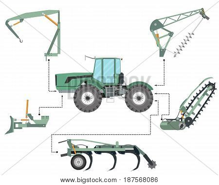 The concept of a tractor mounted equipment for construction and agriculture on a white background. Vector illustration