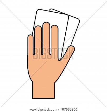 color silhouette of hand with soccer referee cards vector illustration