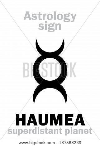Astrology Alphabet: HAUMEA, superdistant dwarf planet. Hieroglyphics character sign (single symbol).
