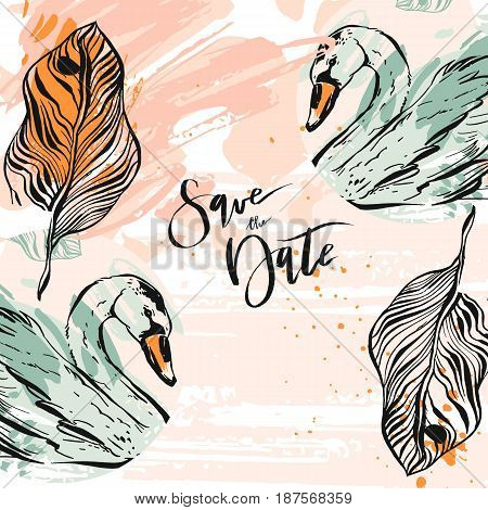 Hand drawn vector abstract artistic texture unusual save the date card template with romantic swans and tropical palm leaves in pastel colors.Design for wedding, birthday, valentine day, greeting, holiday