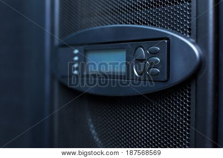 Modern technology. Close up of the control panel being ready to be used in the server room