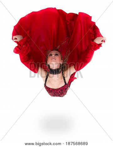 young flamenco woman jumping, isolated in full body on white background