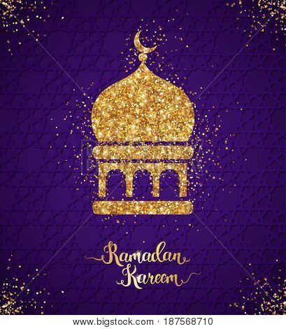Ramadan Kareem glittering greeting card design with arabian mosque icon. Vector Illustration. Gold shining pattern with scattered confetti