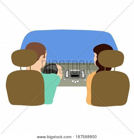 Vector illustration depicting a driver and a passenger in the car from behind.