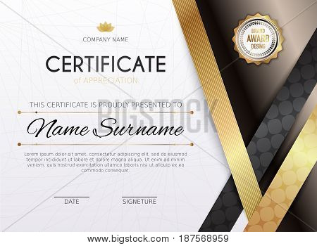Certificate template with golden decoration element. Design diploma graduation award. Vector illustration.