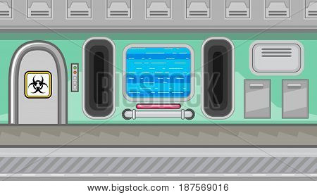 Seamless horizontal background with blue screen and two manholes for game