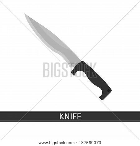 Camping knife vector icon. Hiking hunting knife isolated on white background flat style.
