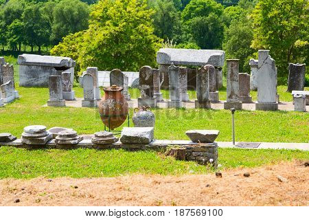 Ancient ruins remains, stones, pottery in province of Lydia, Philippi, Greece