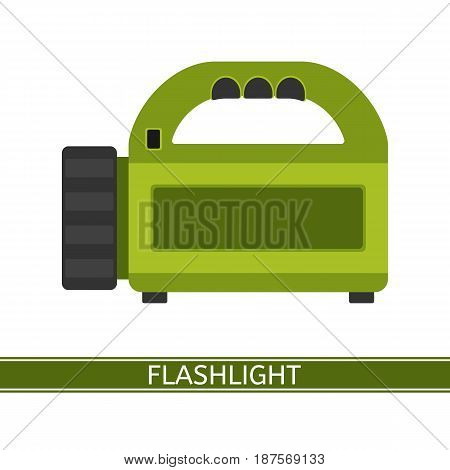 Camping flashlight icon vector illustration. Flashlight in flat style isolated on white background for tourism hiking and fishing.