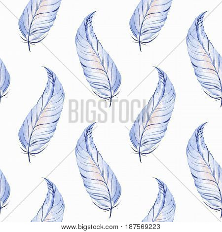 Watercolor seamless pattern with feathers. Hand drawn background 3