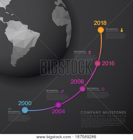 Infographic startup milestones timeline vector template with polygonal world map - dark version.