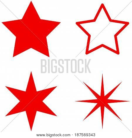 Star flat vector pictograph set. An isolated icons on a white background.