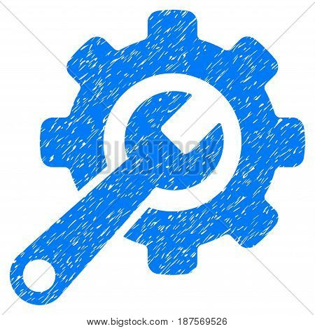 Grunge Tools icon with grunge design and unclean texture. Unclean vector blue pictogram for rubber seal stamp imitations and watermarks. Draft sign symbol.