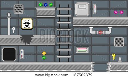 Seamless editable horizontal indoor background with biohazard symbol and stairs for platform game