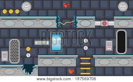 Seamless editable horizontal indoor background with blue window and yellow stairs for platform game