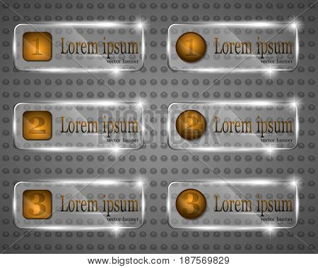Vector illustration of transparent banners with numerals in square and circle shape frames.