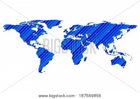 Worldmap template silhouette with stripes. World map for infographic. Vector illustration isolated on white