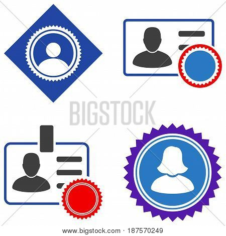 User Seal Stamp flat vector icon set. An isolated icons on a white background.