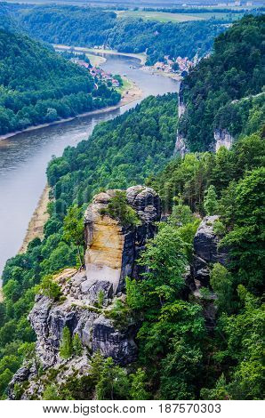 View from the Bastei to the river Elbe and sandstone rocks in Saxon Switzerland, Dresden, Germany.