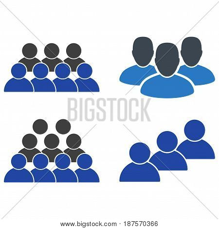 User Staff flat vector pictogram set. An isolated icons on a white background.