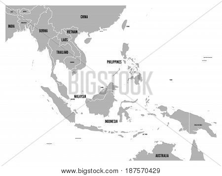 South East Asia political map. Grey land on white background with black country name labels. Simple flat vector illustration.