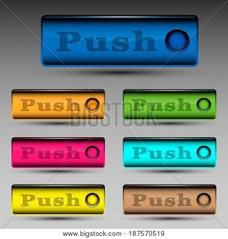Vector illustration of different colored push buttons template.