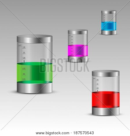 Different sized clear tubes with colorful liquids. Vector illustration.