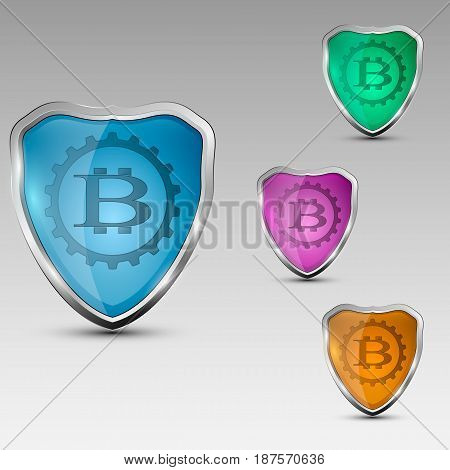 Different colored shields with bitcoinlogo in a gear. Vector illustration.