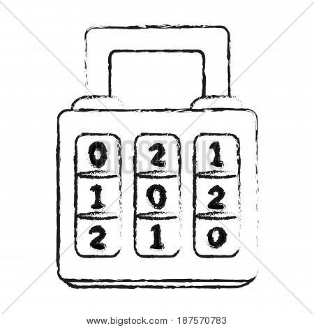 monochrome blurred silhouette of combination padlock with square body vector illustration