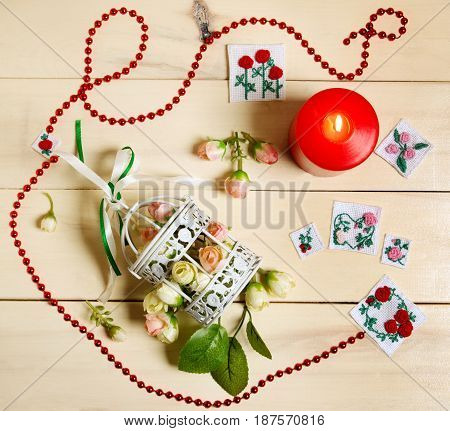 St. Valentines Day gifts on wooden background