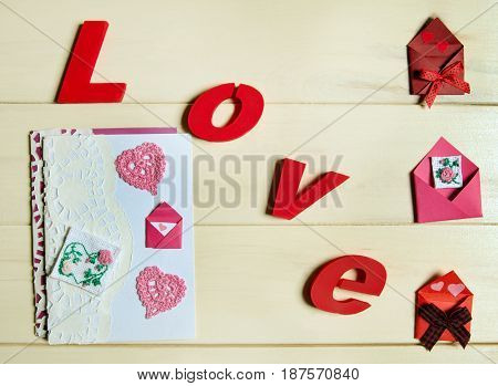 St. Valentines postcards and envelope. Word