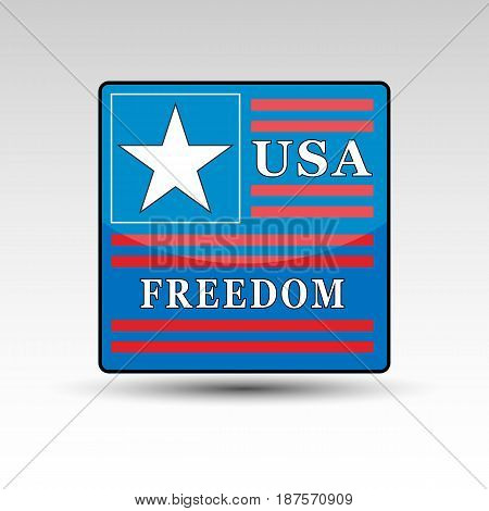 Blue square with star and red stripes with USA freedom words.