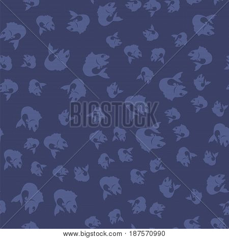 Fresh Fish Isolated on Blue Background. Seamless Pattern