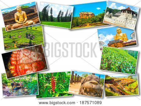 Collage of images of Sri Lanka on white
