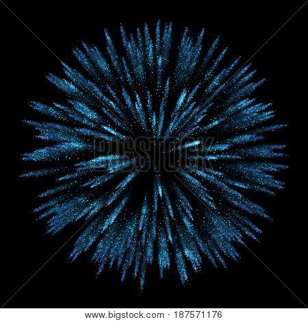 Vector Abstract shiny blue star particles design element with glitter effect on dark background. Independence Day fireworks