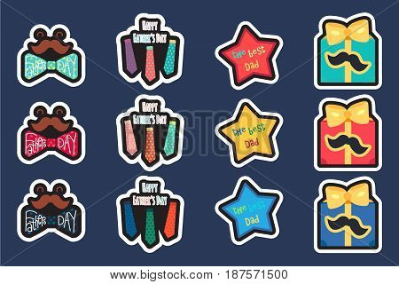 Happy Fathers Day Greeting Stickers. Smile with happy mustache and butterfly cheerful fun ties cool gift with bright bow and mustache and star with the text The Best Dad. Vector