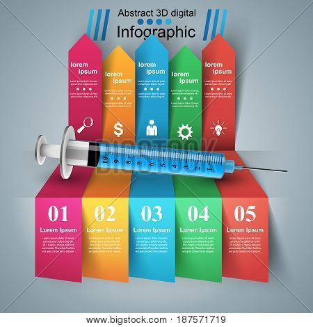 Business Infographics origami style Vector illustration. Syringe icon.