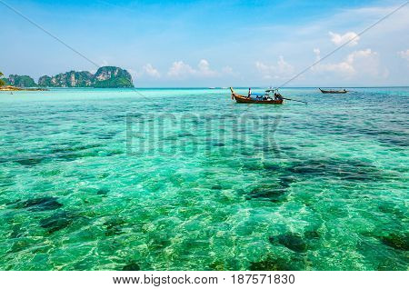 A crystal clear turquoise sea in Phi Phi island Andaman sea in Krabi nearby Phuket Thailand