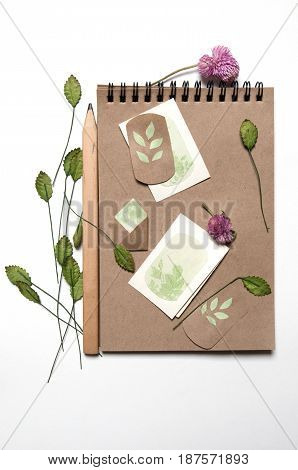 Craft paper sketch-book with flowers and a pencil. White background.