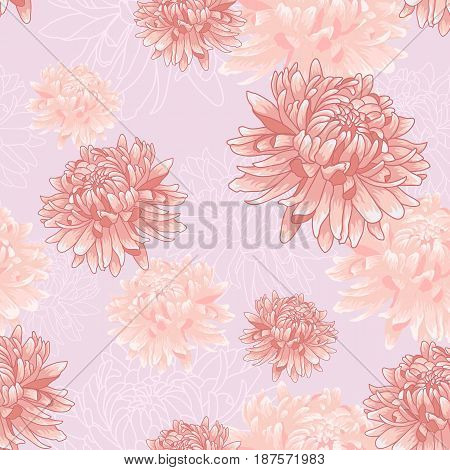 Seamless  floral pattern with pastel colored pink chrysanthemums