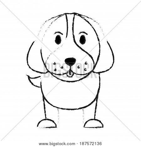 monochrome blurred silhouette of cartoon front view dog animal vector illustration