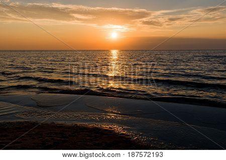 Gold Sunset Baltic sea beach, Jurmala, Latvia