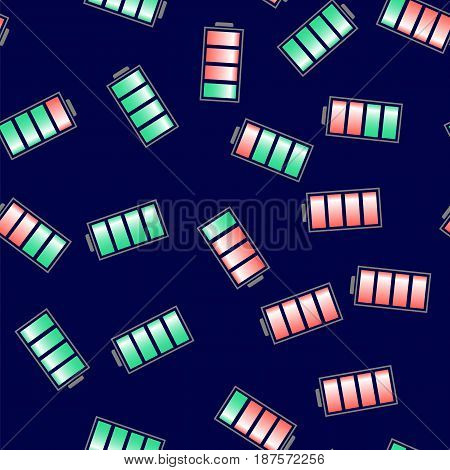 Different Charge of Battery Seamless Pattern Isolated on Blue Background