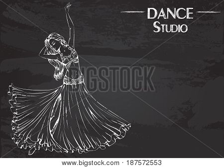 Monochrome vector illustration of young girl dancing belly dance on abstract grunge background. Design for flyers, magazines and commercial banners. Series of dancing men and dance accessories on chalkboard.