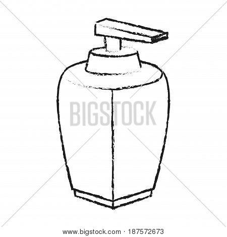 monochrome blurred silhouette with modern dispenser for cream vector illustration